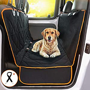 DoggieWorld Dog Car Seat Cover – Cars, Trucks and Suvs Luxury Full Protector, w/ Extra Side Flaps, Seat Belt Openings – Hammock Convertible for Your Pet – Waterproof, Non-Slip – Machine Washable