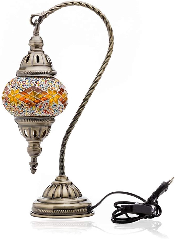 HBJP Tischlampe Handgearbeitete türkische Mosaik Lampe Swan Neck dekorative Schreibtischlampe