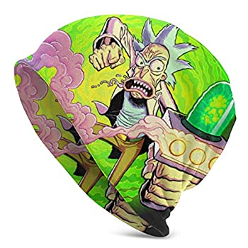 Slouchy Knit Beanie for Men & Women Rick Portal Gun Rick N Morty Warm Snug Decorative Hat Cap Black