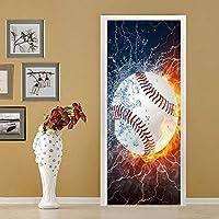 Azbza 3Dドアステッカードア壁画 白い野球 80 x 210cm 3Dドアステッカー壁画ピールアンドスティック、防水ドアデカールビニールドア壁壁画ドア壁紙ステッカー