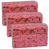 Savon de Marseille - French Soap made with Organic Shea Butter - Rose Petals Fragrance - Suitable for All Skin Types - 125 Gram Bars - Set of 3