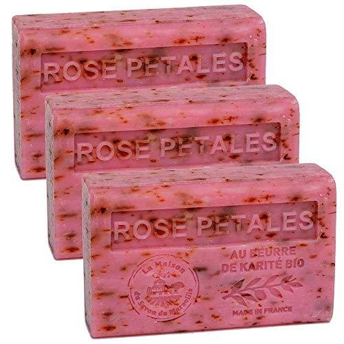 Savon De Marseille - French Seife Mit Organisch Sheabutter - Rose Blätter Duft - Geeignet Für Alle Hauttypen - 125 Gramm Stangen - Set Von 3
