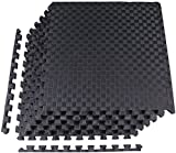 BalanceFrom 1' EXTRA Thick Puzzle Exercise Mat with EVA Foam Interlocking Tiles for MMA, Exercise, Gymnastics and Home Gym Protective Flooring (Black)