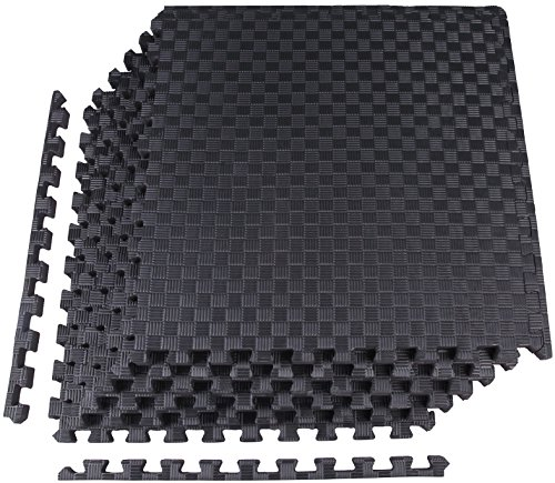 """BalanceFrom 1"""" EXTRA Thick Puzzle Exercise Mat with EVA Foam Interlocking Tiles for MMA, Exercise, Gymnastics and Home Gym Protective Flooring (Black), 24 Square Feet"""