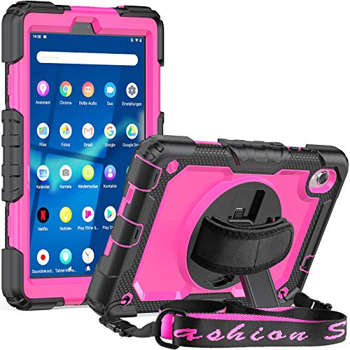 SEYMCY Shockproof Case for Lenovo Tab M8 FHD (TB-8705F/N), Lenovo Tab M8 HD (TB-8505F/X) 8.0 Inch 2019, Full Protection Rugged Protective Stand Case with Screen Protector Handle Strap -Black/Pink