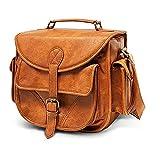 DSLR Leather Camera Bag - Travel Vintage Crossbody Shoulder Bag with Removable Insert - Fits Standard Size DSLR with Lens