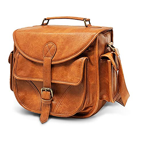 DSLR Leather Camera Bag - Top Handle Crossbody Shoulder Bag with Removable Insert - Fits Standard Size DSLR with Lens