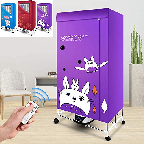 1500W Household Foldable Multifunctional Clothes Dryer, Anion Energy Saving Tumble Dryers, Portable Electric Laundry Drying Rack, Quick Dry & Efficient Mode Digital Automatic Timer,Purple