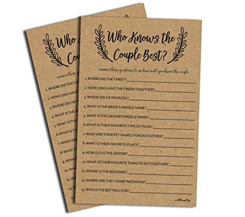 Who Knows The Couple Best - Kraft (50-Sheets) Rustic Bridal Wedding Shower or Bachelorette Party Game, Who Knows The Bride Best Couples Guessing Question Pack Engagement (Large Sheet Size)
