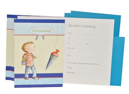 alles-meine.de GmbH 10 TLG. Set Einladungskarten + Umschlag - Jungen Schulanfang - Party Einladung Karte Schuleinführung blau - Schultüte & Zuckertüte - Schuleinführungsfest