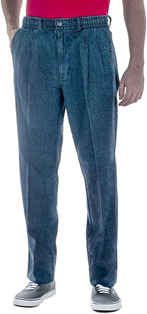 Creekwood Full Elastic Waist Twill Pants for Big and Tall Mens - 100% Pure Cotton