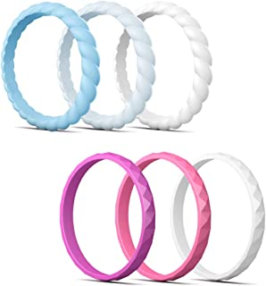 Stackable Silicone Wedding Ring for Women, Braided & Diamond, Colorful Rubber Wedding Bands for Gym Sports Leisure Work Cook, 6/8 Pack