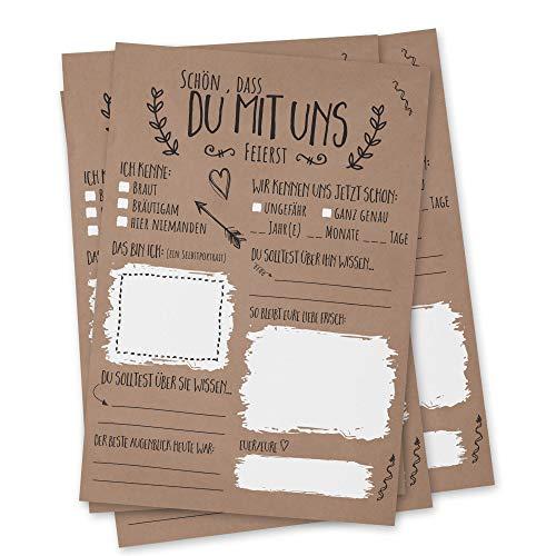 bigdaygraphix Hochzeitsspiel 52 Postkarten mit Fragen Simple Vintage Alternative Gästebuch für...