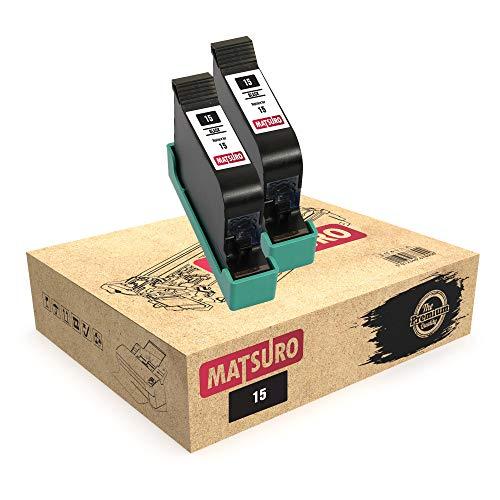 Matsuro Original   Compatible Remanufactured Cartuchos de Tinta Reemplazo para HP 15 (2 Negro)