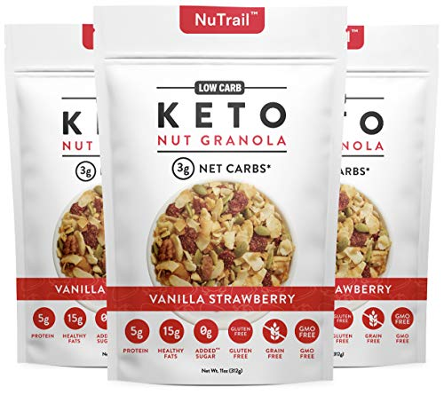 NuTrail™ - Keto Vanilla Strawberry Nut Granola Healthy Breakfast Cereal - Low Carb Snacks & Food - 3g Net Carbs - Gluten Free, Grain Free - Almonds, Pecans, Coconut and more (11 oz) (3 Count)