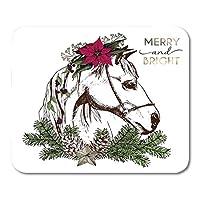 マウスパッド冬の花の花輪とモミの枝で飾られた自由ho放に生きるクリスマス馬の肖像松ぼっくりとスターマウスマットマウスパッド