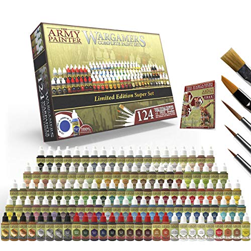 The Army Painter Wargamers Complete Paint Set - Miniature Painting Kit with 124 Model Paints, 5 Bonus Miniatures Paint Brushes and a Free Painting Guide - Miniature Paint Set for Miniature Figures
