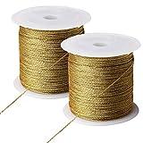 Pengxiaomei 218 Yards/656 Feet Metallic Cord, 2 Pcs Spool Metallic Thread Gold Jewelry Thread Gold Craft String Tinsel String Craft Making Cord(0.5mm)