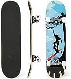 31'x 8' Skateboard para Principiantes, Adolescentes, niños, niñas. 7 Capas Monopatín de Madera de Arce con rodamientos ABEC-7 Tabla de Skateboard