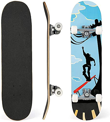 "31""x 8"" Skateboard para Principiantes, Adolescentes, niños, niñas. 7 Capas Monopatín de Madera de Arce con rodamientos ABEC-7 Tabla de Skateboard"