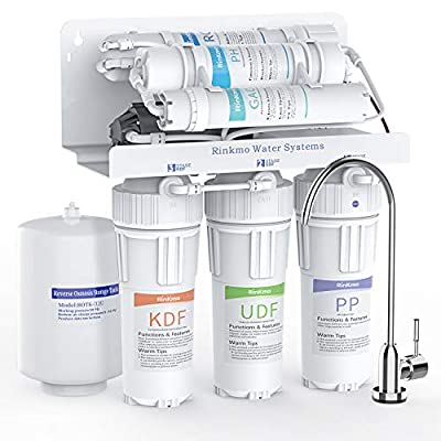 Rinkmo Alkaline Reverse Osmosis Water Filtration System, 6 Stage RO Remineralization Purifier with Faucet and Tank, Under Sink Water Purifier Removes up to 99% Impurities, 75 GPD
