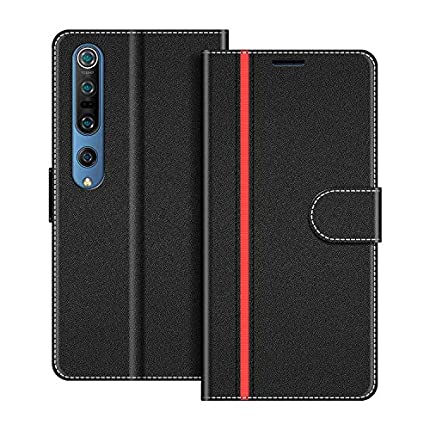 COODIO Funda Xiaomi Mi 10 con Tapa, Funda Movil Xiaomi Mi 10 Pro, Funda Libro Xiaomi Mi 10 Carcasa Magnético Funda para Xiaomi Mi 10 / Mi 10 Pro, Negro/Rojo