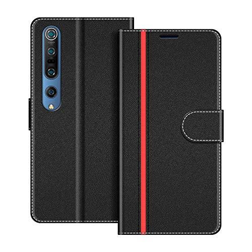 COODIO Handyhülle für Xiaomi Mi 10 Handy Hülle, Xiaomi Mi 10 Pro Hülle Leder Handytasche für Xiaomi Mi 10 / Mi 10 Pro Klapphülle Tasche, Schwarz/Rot