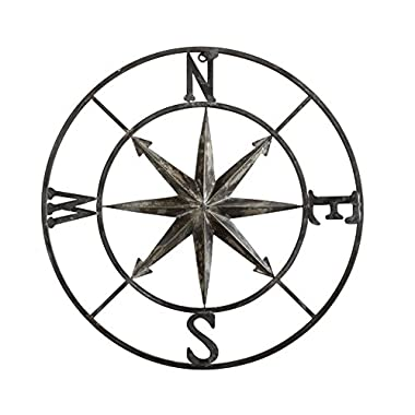 Creative Co-Op DA7818 Casual Country Metal Compass Wall Decor