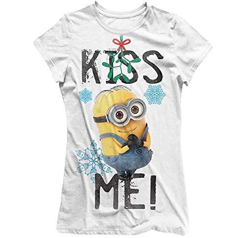 Ich - Einfach Unverbesserlich (Minions) - Kiss Me! (Mistel) - Offizielles Damen T-Shirt - Weiß, Large