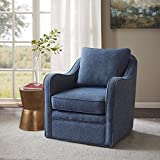 Madison Park Brianne Swivel Chair - Solid Wood, Plywood, Metal Base Accent Armchair Modern Classic Style Family Room Sofa Furniture, 29.5' Wide, Navy