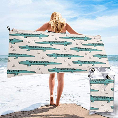 Toalla de Playa para Mujer, Toalla de Microfibra para Piscina para Grils, Toallas de Secado rápido para Viajes al Aire Libre con Animales de cocodrilo