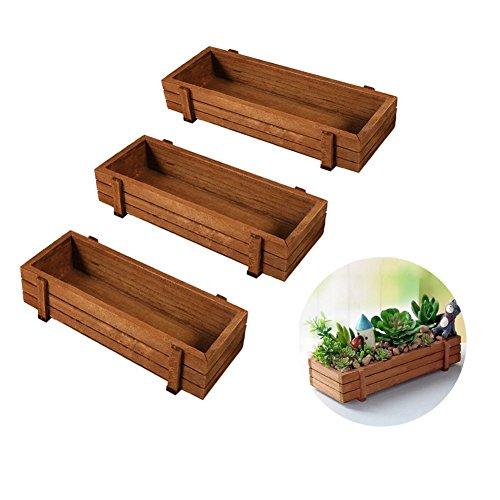 AXspeed Pflanzenkasten aus Holz, für drinnen und draußen, Fensterbank, Küche, Garten, Kräuter, Blumen, Pflanztrog, 3 Stück