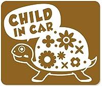 imoninn CHILD in car ステッカー 【マグネットタイプ】 No.53 カメさん (ゴールドメタリック)