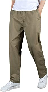 SANFASHION Men Trousers Slim Fit Comfortable Cotton Blend Elasticated Waist Workwear Casual Smart Cargo Combat Loose Breat...