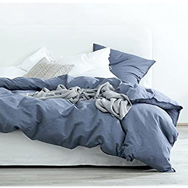 Eikei Washed Cotton Chambray Duvet Cover Solid Color Casual Modern Style Bedding Set Relaxed Soft Feel Natural Wrinkled Look (King, Blue Denim)