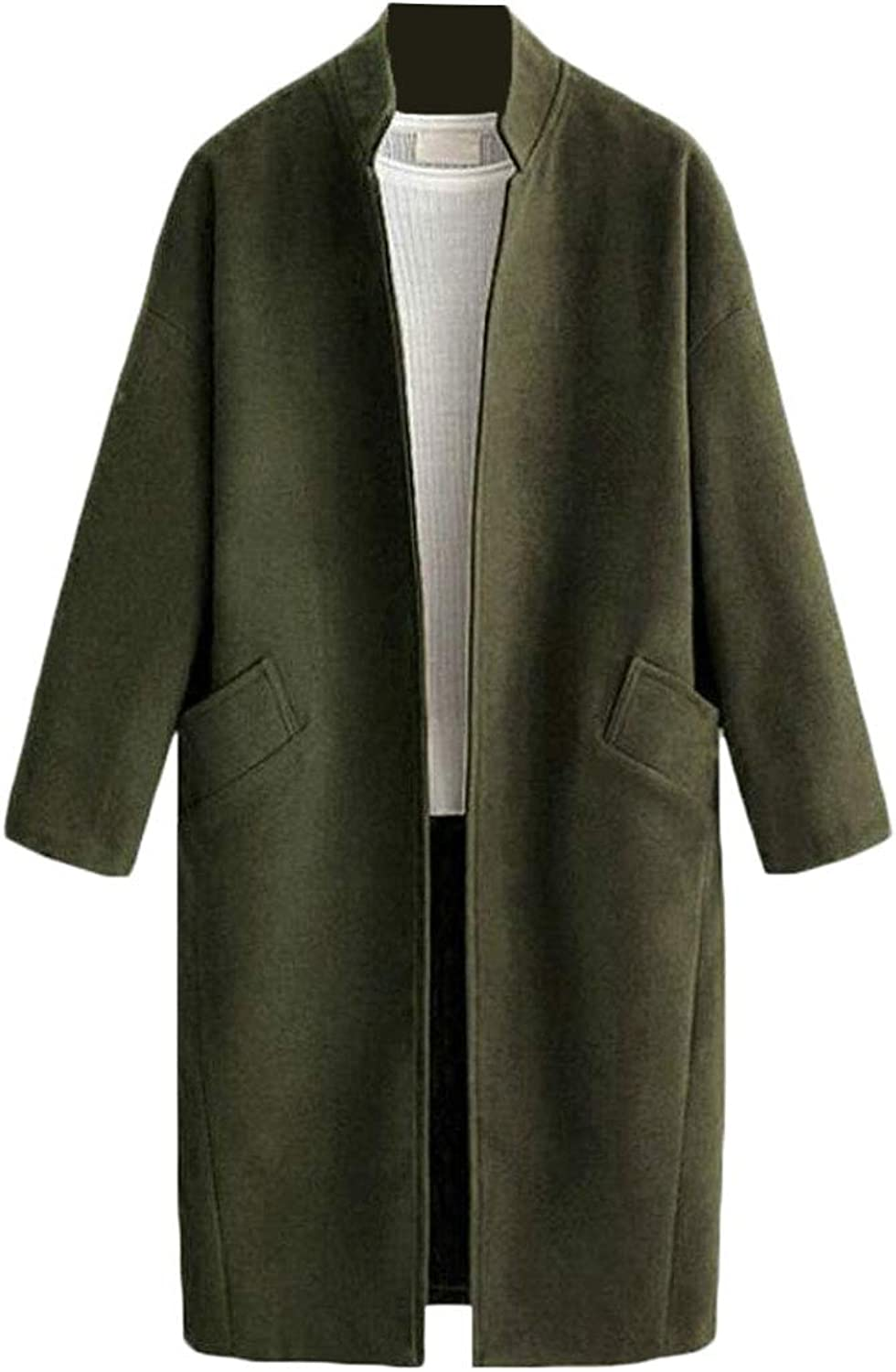 Esast Women Casual Cardigan Trench Coat Wool Blend Peacoats