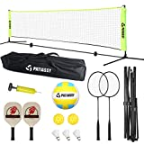 Patiassy Portable Indoor Outdoor Pickleball Volleyball Badminton Net Set - Easy Setup Sports Net with Badminton Rackets, Shuttlecocks, Volleyball, Paddles and Pickleballs for Beach, Driveway, 17ft