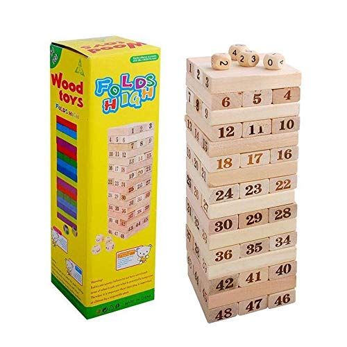 JIYUAN Wooden Building Block Toy Family Board Games Tumbling Tower Block Toy Family Fun Entertainment Game(48pcs)