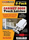 Safe-T-Proof STP-CL-600-WH-2208 Cabinet Door Touch Latches (Pack of 8), White