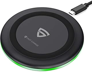 RAEGR Arc 500 Type-C PD Qi-Certified 10W/7.5W Fast Wireless Charger with Fireproof ABS for iPhone11/11Pro/11Pro Max/Xs/Xs MAX/XR/X/8/8Plus,Galaxy S20+/Note10/Note10+/S10/S10Plus/S10E/Note9/S9-Black