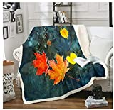 BEDJFH Plantas de otoño 3D Sherpa Manta Hojas de Arce Amarillas Manta de Felpa 130cm x 150cm Manta de Lana Sobrecama para Baby Shower Mantas para Cama Sofá Dormitorio Vivero