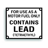 Solar Graphics USA Restoration Repop Decal - Gasoline Pump Contains Lead Tetraethyl to Restore A Vintage Gas Pump Or Fueling Station, Compatible with Texaco, Sinclair, Gasboy - 6x7 Inch