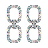 EVER FAITH Damen Ohrringe 7 Farben Kristall Rechteck Geometric Modern Link Statement Drop Ohrstecker Irisierende-Klar AB Silber-Ton