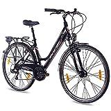 KCP 28 Zoll City Bike - Estremo Lady - Damen Trekkingfahrrad mit 21 Gang Shimano Tourney Kettenschaltung und Nabendynamo, bequemtes Tourenfahrrad für Frauen