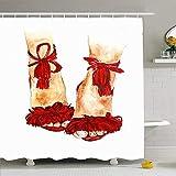 Duschvorhang Set Mit Haken 140X180 cm Ges&heit Hot Red Glam Print Mädchen Finger Sommer Schuhe Mode Lila Weibliche Blogger Schönheit Aquarell