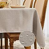 BALCONY & FALCON Mantel Rectangular Mantel Antimanchas para Cocina Mantel Impermeable para Mesa Cafetería (Gris Crema, 140*180cm)