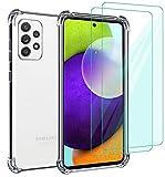 Annhao Funda para Samsung Galaxy A52 4G/5G/ A52s 5G con 2 Piezas 9H Cristal Templado Protector de Pantalla, Transparente TPU Ultrafina Cuatro Esquinas Anti-Caídas Suave Silicona Case para Samsung A52