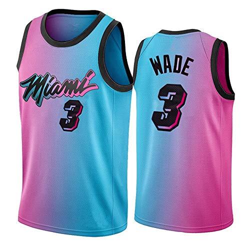 Miami Heat NBA # 3 Dwyane Wade Basketball NBA Camiseta para Hombre, 2021 Basketball League Camiseta Unisex Swingman Top,S