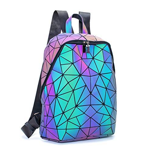 FZChenrry Geometrische Tasche Geometrischer Rucksack Damen Leuchtender Holographic Rucksäcke Reflektierend Festival Beutel A1