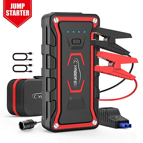 Car Jump Starter, YABER Upgrade Portable Jump Starter 1600A Peak 20000mAh (All Gas / 7.0 L Diesel) 12V Auto Car Jumper Power Pack with Smart Jump Cables Built-in LED Light Lithium Battery